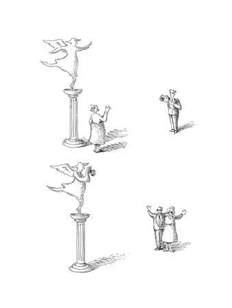 statue takes picture - Cartoon