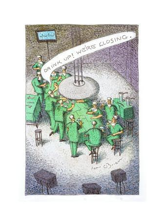 Doctors drinking at an operating table. - Cartoon