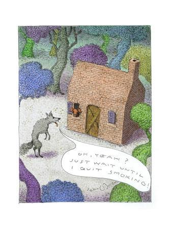 Wolf talking to pig about blowing his house down, - Cartoon