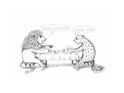 Cheetah and Lion playing cards - Cartoon