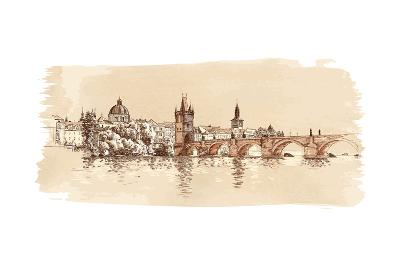 Panorama of Prague. View of Charles Bridge and the Vltava River Embankment. Vector Drawing
