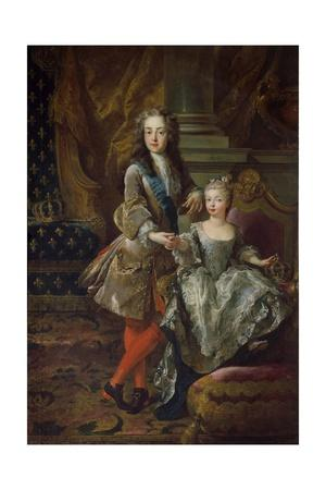 Portraits of Louis XV of France and Mariana Victoria of Spain
