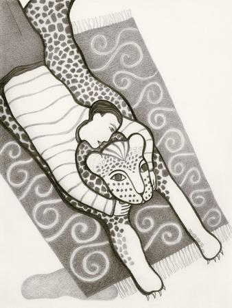 Black and White Drawing of Man with Tiger on Carpet