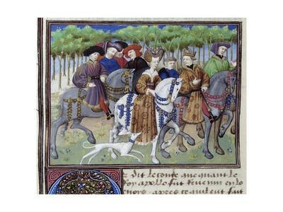 The King and the Queen Going Hunting -14Th Century Miniature