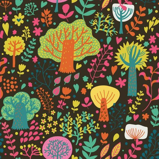 Magic Forest In Cartoon Style In Bright Summer Colors Seamless