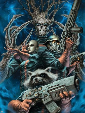 Guardians of the Galaxy No.20 Cover: Rocket Raccoon, Starlord, Moon Dragon and Groot