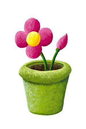 Green Pot with Pink Flowers
