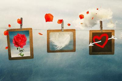Photo Frames on a Rope in the Sky, Vintage, Love