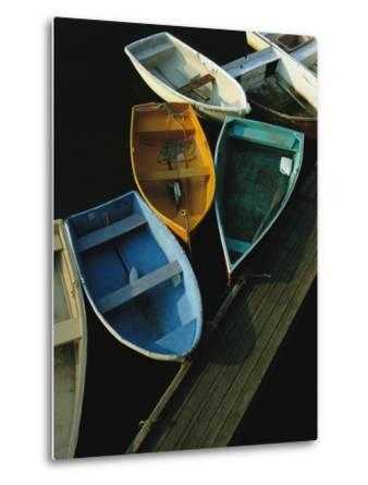Skiffs Tied up at a Dock in the Inner Harbor at Rockport