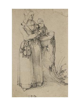 Standing Figure of a Woman Holding a Child, 1502 (Pen and Indian Ink on Discoloured Brownish Paper)