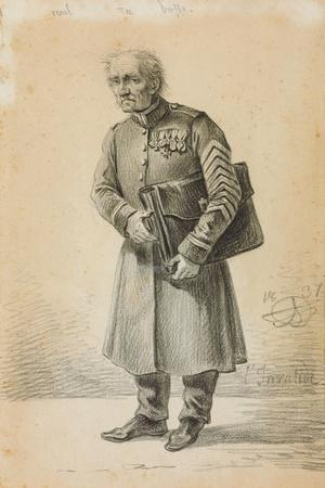 A Veteran of the Imperial Russian Army, 1837 (Pencil and Charcoal on Paper)