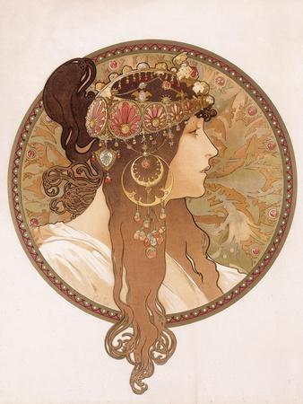 Byzantine Head of a Brunette; Tete Byzantine D'Une Brunette, C.1897 (Lithograph in Colours)