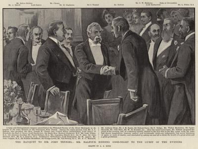 The Banquet to Sir John Tenniel, Mr Balfour Bidding Good-Night to the Guest of the Evening
