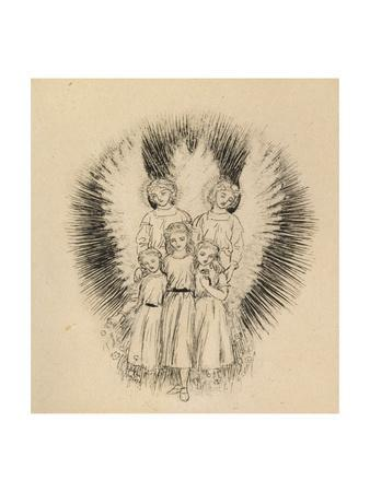Three Little Children on the Wide Wide Earth (Pen and Black Ink on Off-White Paper)