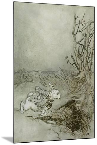 Pen and Ink Style The Late Rabbit Wall Decal Available in Various Sizes