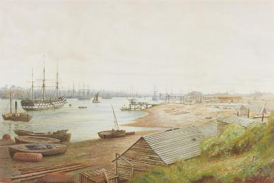 A Busy River Scene with Numerous Vessels (Pencil, Watercolour and Bodycolour on Paper)