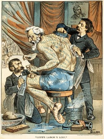 Love's Labor's Lost Published in Puck Magazine, 1884 (Colour Chromolithograph)