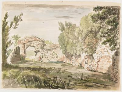 Landscape with Trees, Ruin and Three Figures