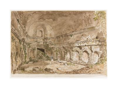 Interior of a Roman Edifice with Visitors