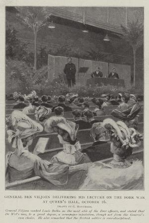 General Ben Viljoen Delivering His Lecture on the Boer War, at Queen's Hall, 16 October