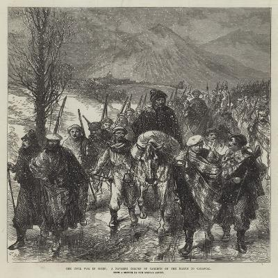 The Civil War in Spain, a Navarre Column of Carlists on the March to Carascal