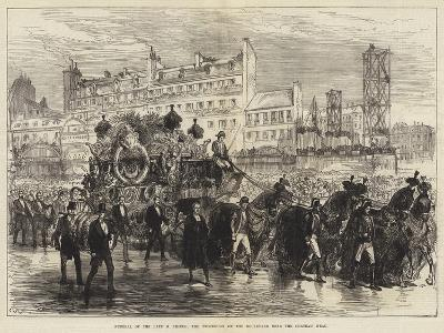 Funeral of the Late M Thiers, the Procession on the Boulevard Near the Chateau D'Eau