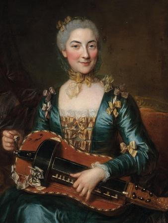 Portrait of a Lady Playing a Hurdy-Gurdy