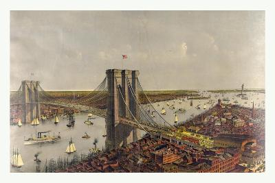 Grand Birds Eye View of the Great East River Suspension Bridge Connecting the Cities of New York an