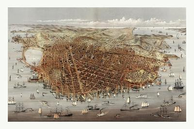 The City of San Francisco. Birds Eye View from the Bay Looking South-West, Circa 1878, USA, America