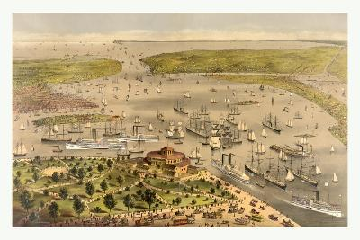 Port of New York, Birds Eye View from the Battery Looking South, Circa 1878, USA, America