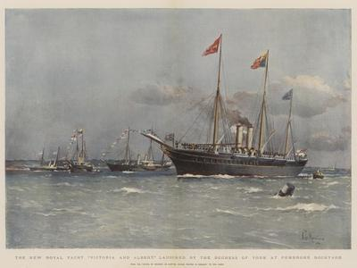 The New Royal Yacht Victoria and Albert, Launched by the Duchess of York at Pembroke Dockyard