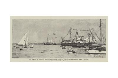 The Arrival of the Duke and Duchess of York at Cowes, the Royal Yacht Passing HMS Neptune