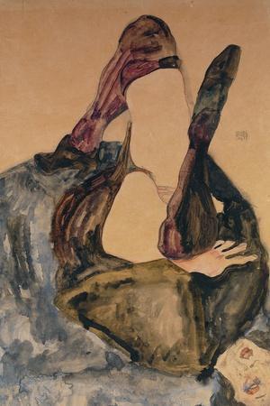 Woman with Raised Leg and Purple Stockings; Frau Mit Erhobenem Bein Und Lila Strumpfen