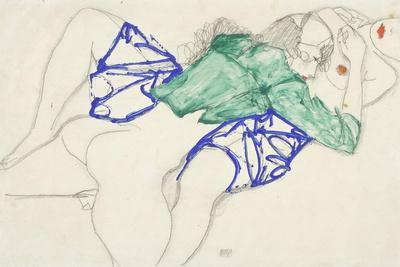 Two Friends, Reclining (Tenderness), 1913 (Pencil and Tempera on Paper)