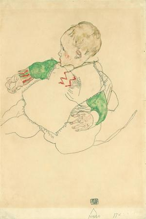 Child with Green Sleeves (Anton Peschka, Jr.), 1916 (Gouache and Pencil on Paper)