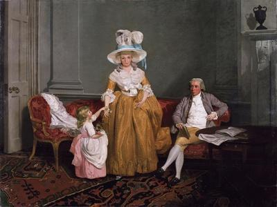 A Family Group, the Father Seated, the Mother and Daughter Standing, in an Interior, 18th Century
