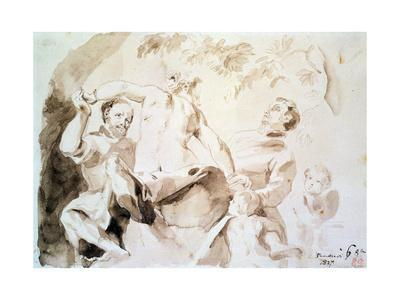 Study after Veronese's Allegory of Love, 1837 (Pen and Ink and Wash on Paper)