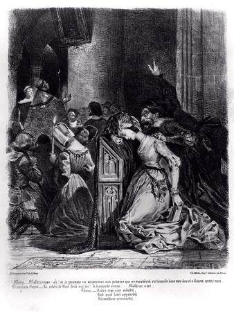 Marguerite in the Church with the Evil Spirits: Illustration from 'Faust' by Goethe, 1828