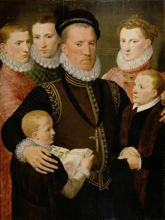 George, 5th Lord Seton (1531-95) and Family, 1572 (Panel)