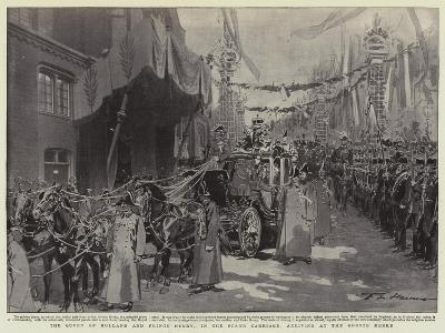 The Queen of Holland and Prince Henry, in the State Carriage, Arriving at the Groote Kerke