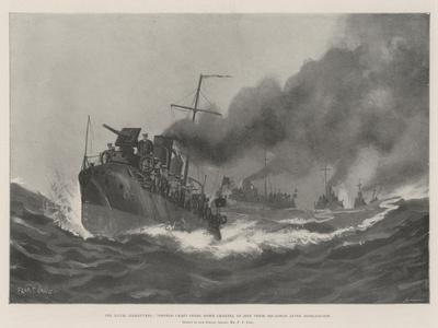 The Naval Manoeuvres, Torpedo Craft Going Down Channel to Join their Squadron after Mobilisation