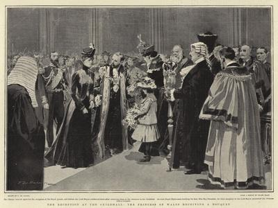The Reception at the Guildhall, the Princess of Wales Receiving a Bouquet