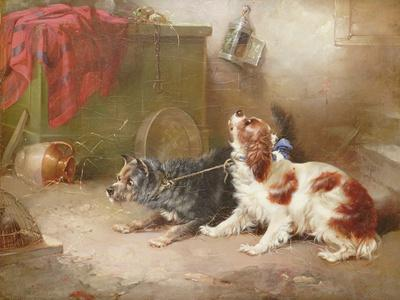 A Terrier and a King Charles Spaniel Scaring a Rat