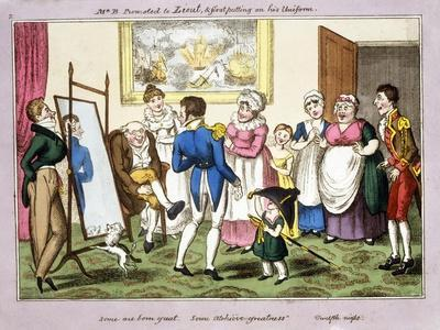 Mr B. Promoted to Lieut. and First Putting on His Uniform, 1835 (Hand-Coloured Aquatint)
