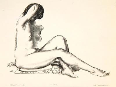 Nude Study, Girl Sitting on a Flowered Cushion, 1923-24