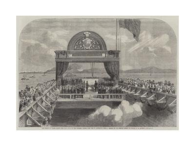 The Prince of Wales Laying the Last Stone of the Victoria Bridge over the St Lawrence