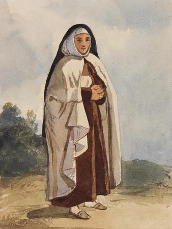 A Nun, with Additions by Princess Maria Annunziata Di Borbone (1843-1871)