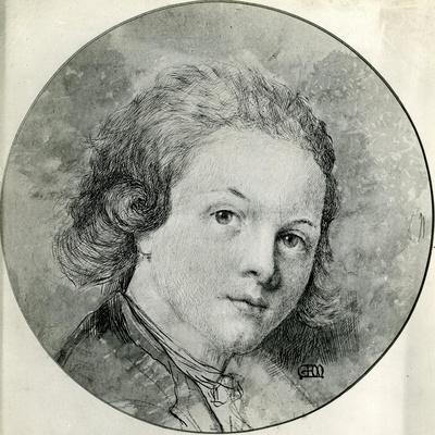 Portrait of Mozart at the Age of Fourteen after Pompeio Batoni (Pen and Ink with W/C)