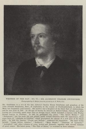Writers of the Day, Mr Algernon Charles Swinburne