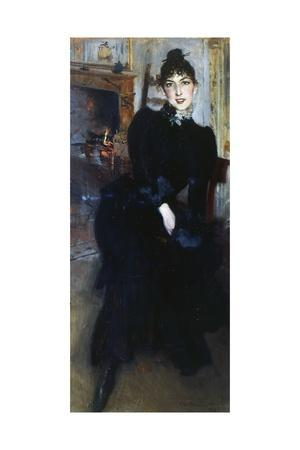 Alaide Banti at the Fireplace